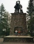 The Donner Memorial. The top edge of the stonework is at the height of the snow that stopped the Donner party.