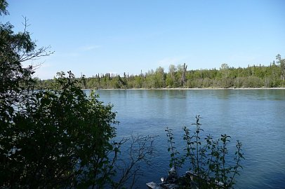 The Kenai River, downstream from the dock at Tower Rock Lodge.