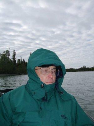 Dad warding off the chill of a June Alaska morning.