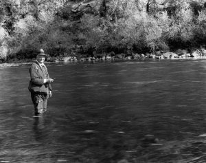 Herbert Hoover fishing the Klamath River at Brown's Camp, Calif.
