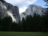El Capitan (foreground) and Half Dome