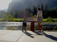 Alex and mom learning about the Merced River.