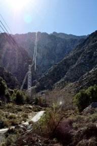 Looking up at the route of the Palm Springs Aerial Tram.