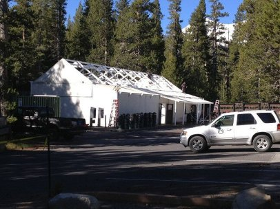 The Tuolumne Meadows general store being assembled for the season.