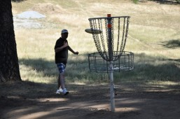 Tom scoring on the first hole, aka basket.