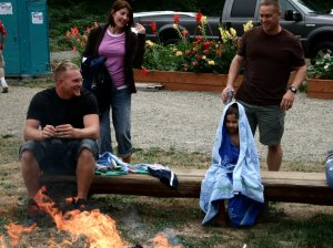 Sean, Kenna, Kaden and Mark around the fire.