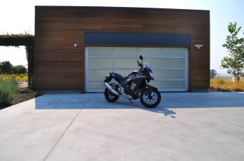 In front of a Blu Homes garage.
